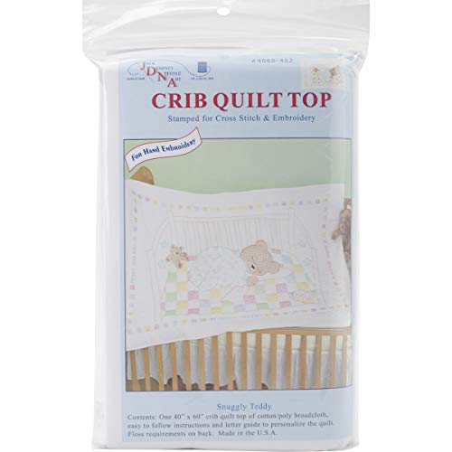 - Jack Dempsey Stamped Quilt Crib Top, 40 by 60-Inch, Snuggly Teddy, White
