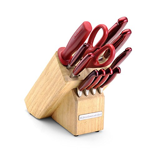 (KitchenAid 12-Piece Pearlized Candy Apple Red Stainless Steel Cutlery Set With Convex Blade Edge)