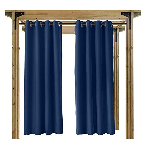 Cololeaf Outdoor Curtain for Patio Waterproof Grommet Top Thermal Insulated Blackout Outdoor Curtain Drape, Porch, Gazebo, Pergola, Cabana, Dock, Beach Home - Navy 52W x 84L Inch (1 Panel) by COFTY