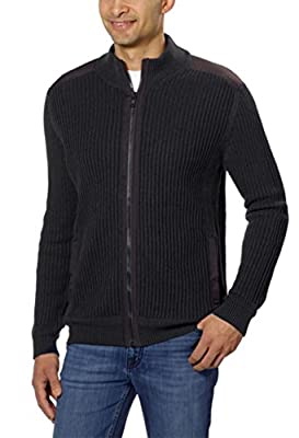 Calvin Klein Men's Fisherman Ribbed Knit Cotton Mock Neck Sweater