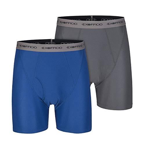 ExOfficio Men's Give-N-Go Boxer Brief, Granite/Admiral, 2 Pack - Small