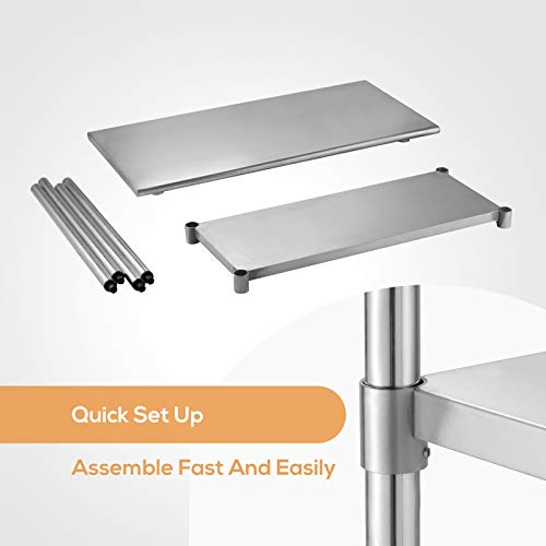 SUNCOO Commercial Stainless Steel Work Table Food Grade Kitchen Prep Workbench Metal Restaurant Countertop Workstation with Adjustable Undershelf 48 in Long x 24 in Deep by SUNCOO (Image #6)