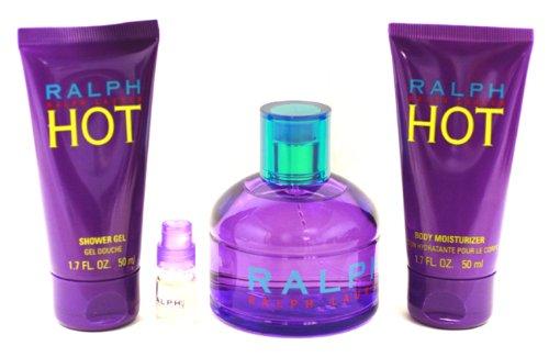 Ralph Hot by Ralph Lauren for Women, Gift Set (Eau De Toilette Natural Spray 3.4 Ounce, Body Moisturizer 1.7 Ounce, Shower Gel 1.7 Ounce, Eau De Toilette Natural Spray Mini 2 ml)