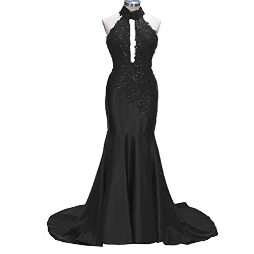 Fancy-Bridal Shiny Satin Beads Appliques Halter Neck Backless Formal Evening - Sheath Dress Neck Satin