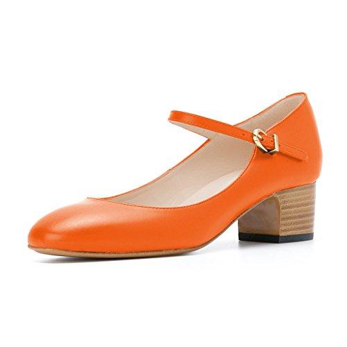Mujeres De Fsj Mary Jane Stacked Block Heels Vintage Pumps Zapatos Retro Del Dedo Del Pie Redondo Para Comfort Size 4-15 Us Orange