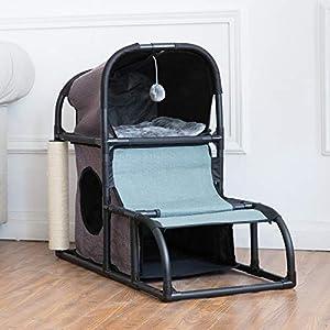 CO-Z Árbol Gatos Casa para Gatos Casetas y Condominios Multifuncional Estable de Tela Oxford con Cama /Escalera /Orificios de Ojeada /Poste de Raspado y Bola Colgante