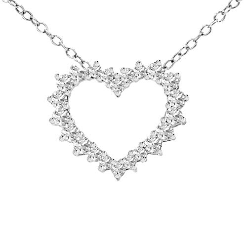 Cyber Monday Deal for Original Diamond Pendant Heart Shape in 10KT White Gold 0.54 Ct Diamond Pendant, I1-GH Quality Diamond Pendant Necklace, Perfect gift diamond pendant for womens for all Occasion - Heart Pendant 10kt Gold Jewelry
