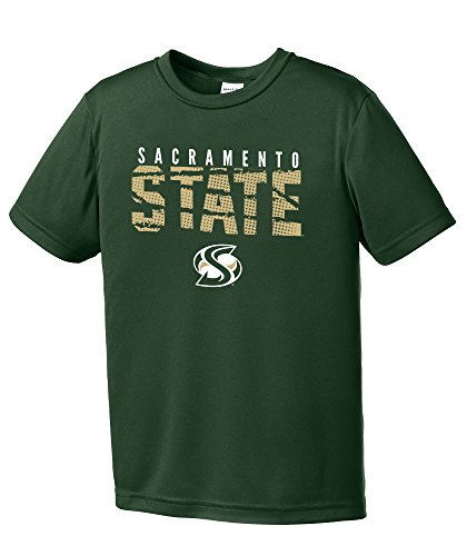 Image One NCAA Cal State Sacramento Hornets Youth Boys Destroyed Short sleeve Polyester Competitor T-Shirt, Youth Large,ForestGreen