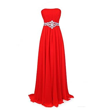 Fashion Plaza Strapless Bridesmaids Evening Dresses D004 (US4, Red)