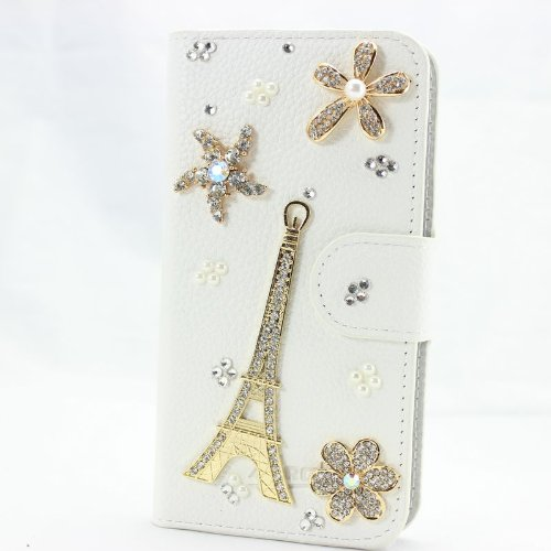 piaopiao fashion 3d bling leather wallet card flip Case Cover Skin For Sony Xperia T2 Ultra D5303 D5306 (eiffel)