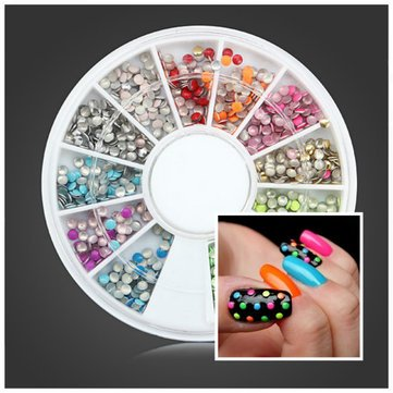 Nail Decoration 2mm Fluorescence Color Round Metal Stud Diy Nail