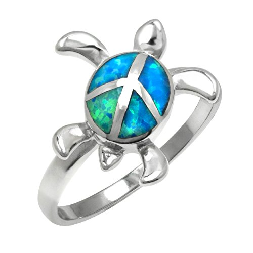 Sterling Silver Turtle with Peace Sign Ring with Simulated Blue Opal ()