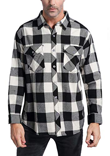 Coevals Club Men's Long Sleeve 100% Cotton Fleece Plaid Flannel Shirt (#5 Write/Black, M)]()
