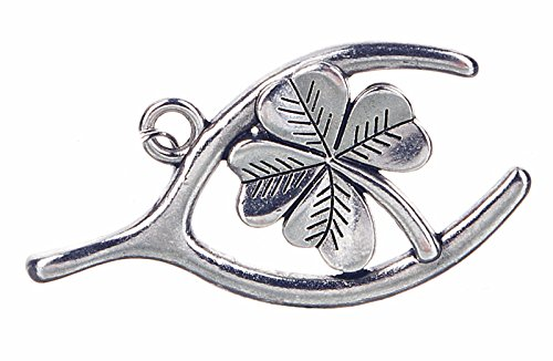 Double The Luck Wishbone & 4-Leaf Clover Charm - By Ganz
