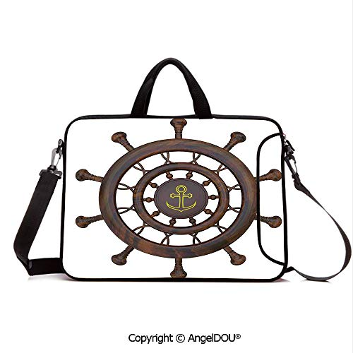 AngelDOU Neoprene Laptop Shoulder Bag Case Sleeve with Handle and Extra Pocket Wooden Steering Wheel of The Ship with Anchor Pattern History Antiques Rustic De Compatible with MacBook/Ultrabook/HP/A