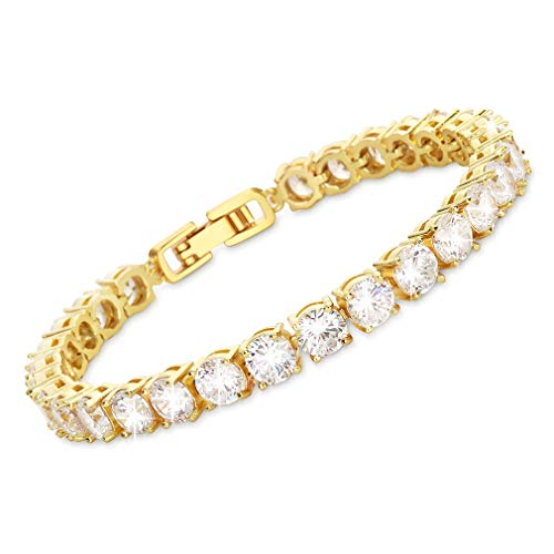 MEETYOO Tennis Bracelet with Swarovski Elements Crystal Jewelry Lady Valentines Gift Zirconia Platinum Plated Bangle (5mm-Gold-7.4in)