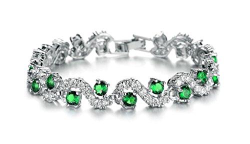 Aooaz Ladies Womens Silver Plated Bracelet, Green White Rhinestone Cubic Zirconia Bracelet Wedding - Cors Michael