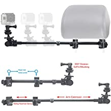 ChargerCity GoPro Session Hero6 Hero5 Hero4 Hero 6 5 4 3 Secure Dual Post Lock Telescopic Headrest Mount with sliding aluminum arm (Compatible with All Gopro Hero / Session Camera case)