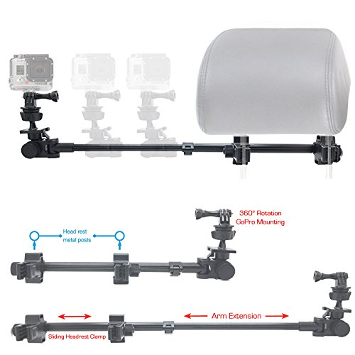 ChargerCity GoPro Fusion Session Hero6 Hero5 Hero 6 5 4 3 Secure Dual Post Lock Telescopic Headrest Mount with sliding aluminum arm (Compatible with All Gopro Hero/Session Camera case)