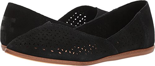 TOMS Women's Diamond Jutti Pointed Toe Flat (8.5 B(M) US, Black Suede/Mosaic Tile)