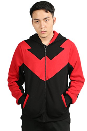 [XCOSER Nightwing Hoodie Cosplay Costume Cotton Zip Up Red Black Sweatshirt S] (Nightwing Halloween Costumes)