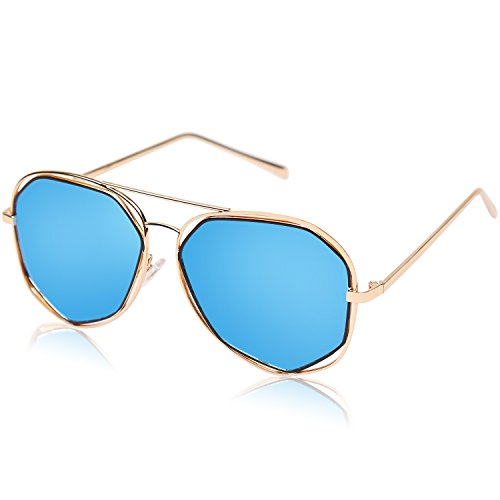 8968f91a1990d Amazon.com  SojoS Fashion Metal Frame Flat Mirrored Lens Sunglasses SJ1004  With Gold Frame Blue Lens  Clothing
