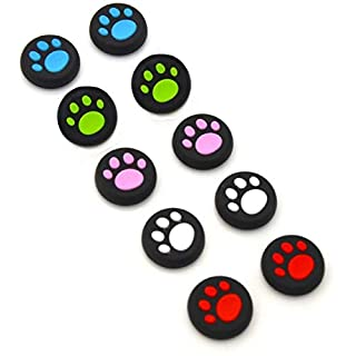 Timorn 5 Pairs/10 PCS Silicone Cat Pad Joystick Thumb Stick Caps Cover for PS4 PS3 PS2 Xbox One/360 Game Controller