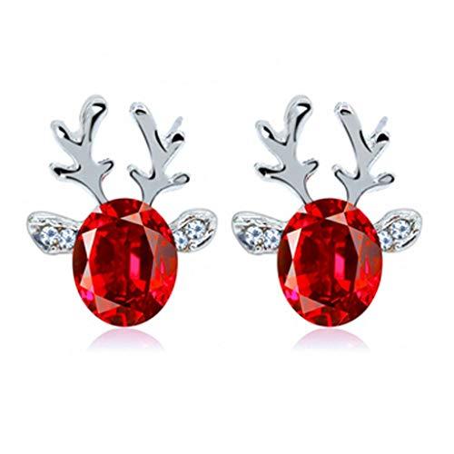 clacce 1 Paar Rentiergeweih Ohrringe Ohrringe Damen Perlen Silber Elch Geweih Ohrstecker Kristall Edelstein Weihnachten