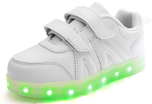 Poppin Kicks LED Light up Shoes Boy Girl PU Leather Low Top Sneakers White 10 M US Toddler