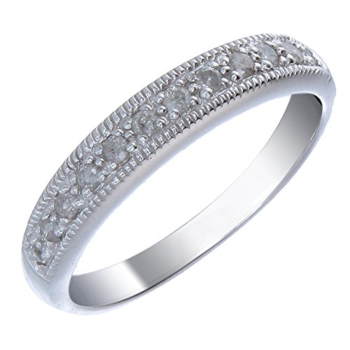 Sterling Silver Diamond Wedding Band (1/4 CT) In Size (Diamond Silver Eternity Bands)
