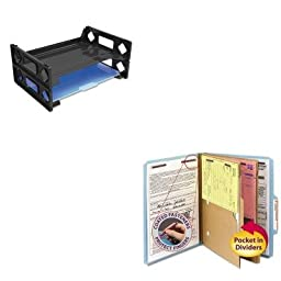 KITSMD14081UNV08100 - Value Kit - Smead Pressboard Folders with Two Pocket Dividers (SMD14081) and Universal Side Load Letter Desk Tray (UNV08100)
