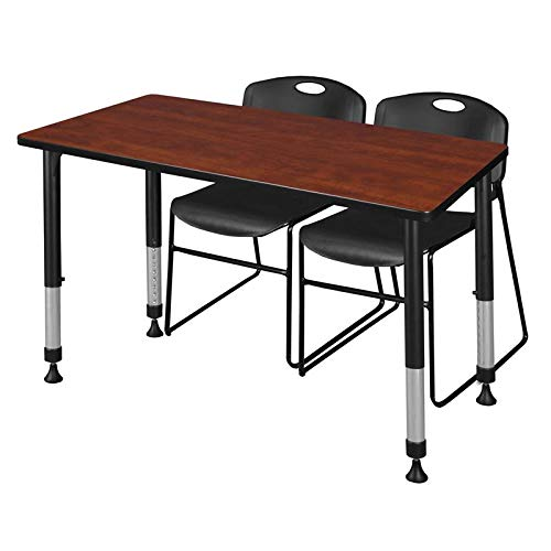 Regency MT4824CHAPBK44BK Kee Height Adjustable Classroom Table Set with Two Zeng Chairs, 48'' x 24'', Cherry/Black by Regency
