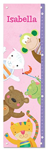 Baby Zoo Wall Hanging - Personalized Custom Name Keepsake Growth Chart Height Ruler for Girls Kids Room Wall Hanging Canvas Children's Baby Nursery Décor, Zoo Animals Monkey Bear Tiger | I See Me!