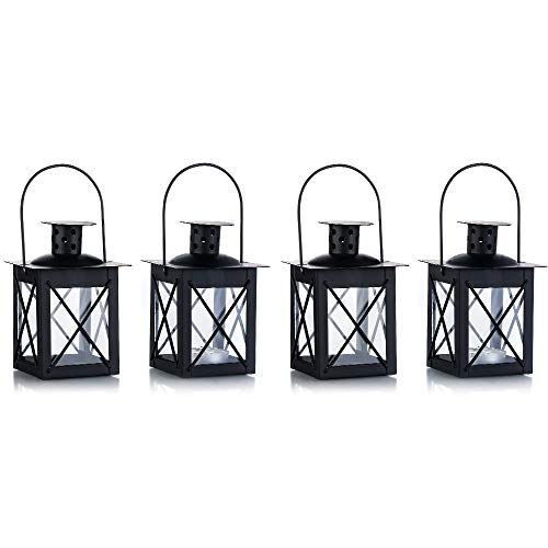 Vintage Black Metal Mini Decorative Candle Lanterns Tealight Candle Holder & Led Tea Light Candleholder Decoration for Birthday Parties Wedding Centerpiece Relaxing Spa Setting (Black, 4 Pcs)
