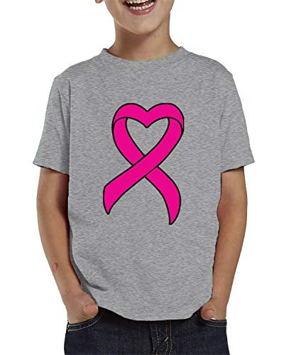 SpiritForged Apparel Heart Shaped Pink Ribbon Breast Cancer Awareness Toddler T-Shirt, Light Gray ()