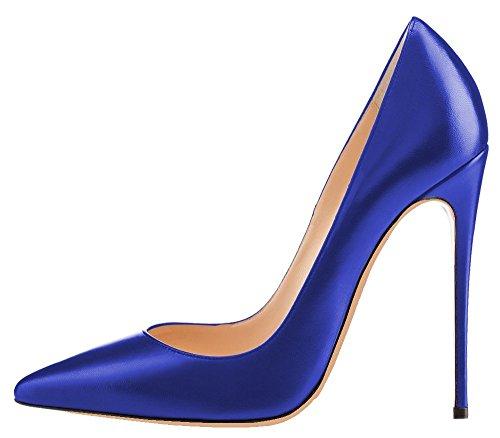 Talons Bleu Chaussures Talon Femme Aiguille Grande Pu Taille Stilettos Ubeauty Escarpins Femmes wHzqf6B