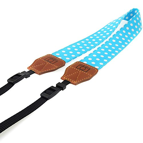 Giani Camcorder Camera Shoulder Neck Strap Universal Camcorder Belt for DSLR Fujifilm Instax Mini 8 Nikon Canon Sony Olympus Samsung(Blue-White Dots)