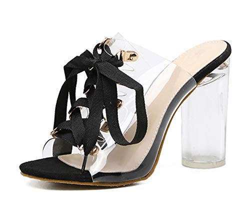Sheep 2019 New Sexy PVC Transparent Gladiator Sandals Peep Toe Lace-Up Shoes Clear Chunky Heels Sandals Slippers Women,Black,5