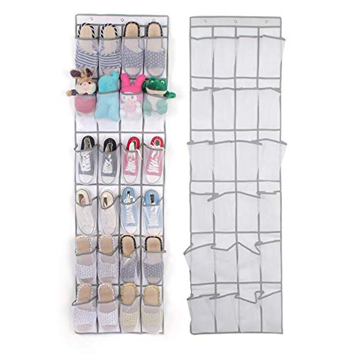 (Over The Door Shoe Organiser Hanging Shoe Holder Thick Non-Woven Fabric with Flexible Wall Rack 24 - Pocket (White))
