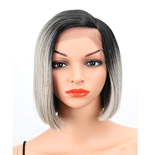 Eliza Short Bob Wigs L Part Lace Front Wigs with Baby Hair Heat Resistant Synthetic Wigs For Black Women Half Hand Tied 130% Density Ombre Blonde Wigs with Dark Roots(Ombre Gray)