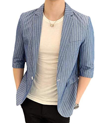 (Winwinus Men's Slim Fit Casual Leisure Stylish Stripe One Button Blazer Jacket Blue S)