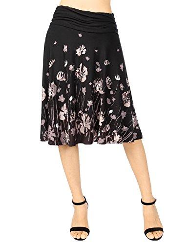 Knee Shorts Clothing Company - DJT FASHION Tie Dye Skirt for Women,Summer Comfortable Soft Elastic Waist Knee Length Loose Swing Skirt S Black Floral