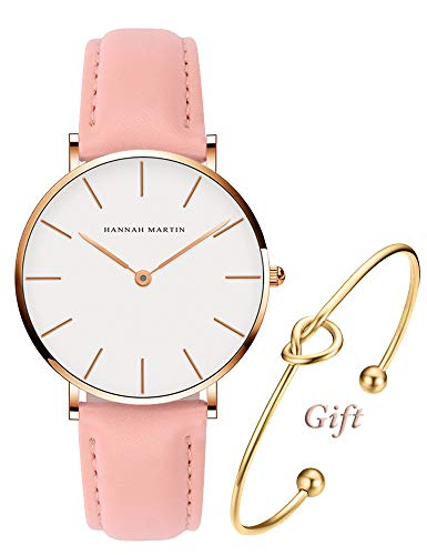 Pink Leather Watch (Women's Rose Gold Watch Analog Quartz and Pink Leather Band Casual Fashion Classic White Ladies Wrist Watches)