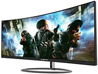 """SCEPTRE CURVED 30"""" 21:9 GAMING LED MONITOR 2560X1080P ULTRAWIDE ULTRA SLIM HDMI DISPLAYPORT UP TO 85HZ MPRT 1MS FPS-RTS BUILD-IN SPEAKERS, MACHINE BLACK (C305W-2560UN)"""