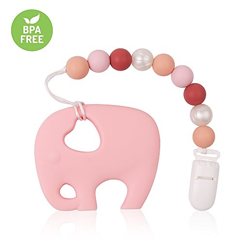 Pacifier Clip TYRY.HU Teething Toys BPA Free Silicone Elephant Teether with Binkie Holder for Boys, Girls, Baby Shower Gift (Pink)