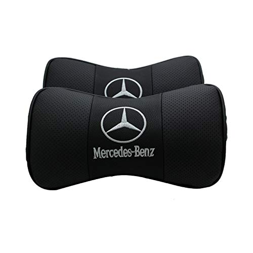Ldntly 2 PCS Car Seat Neck Pillow,Genuine Leather Bone-Shaped Car Neck Pillow,Headrest Cushion for Neck Pain Relief and Cervical Support Comfortable with Logo Pattern (Mercedes-Benz)