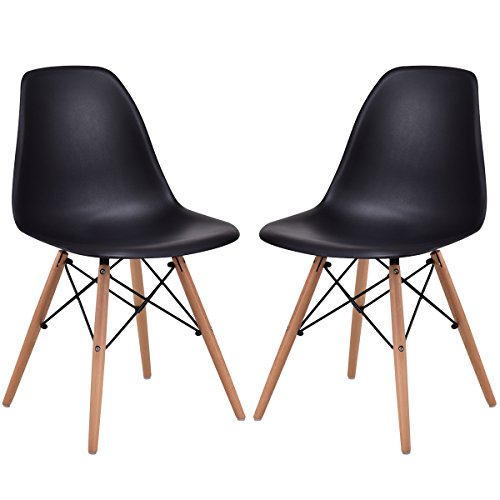 - Giantex Set of 2 Dining Chair Armless Mid Century Modern Style Plastic Seat Wood Dowel Legs for Bedroom Accent Living Room DSW Chair (Black)