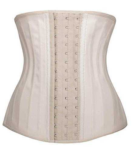 SHAPERX Women's 25 PCS Steel Boned Latex Waist Trainer Workout Waist Cincher Corset Body Shaper Shapewear,SZ1210-Beige-3XL