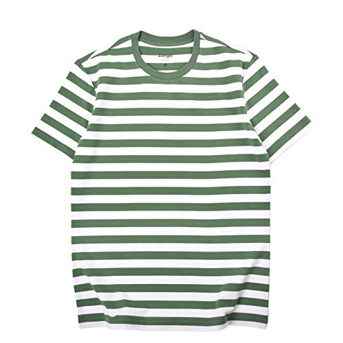 Zengjo Essential Stripes T-Shirts Comfort Short-Sleeve Crew-Neck Striped Tee Top (L,Army Green&White WD)