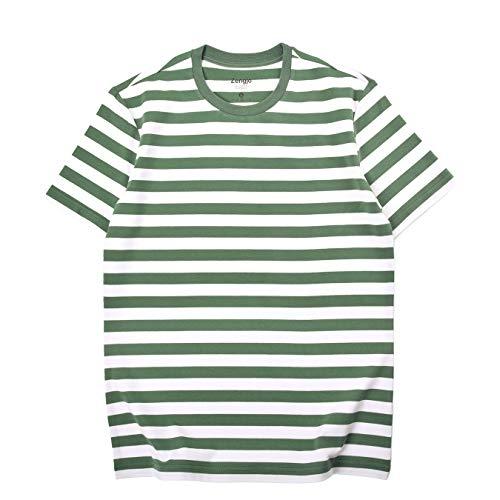 Zengjo Mens Green and White Striped Shirt(L,Army Green&White WD) (Green Striped T-shirt)
